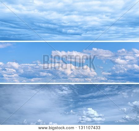Set of Bright Blue Sky Backgrounds with White Clouds