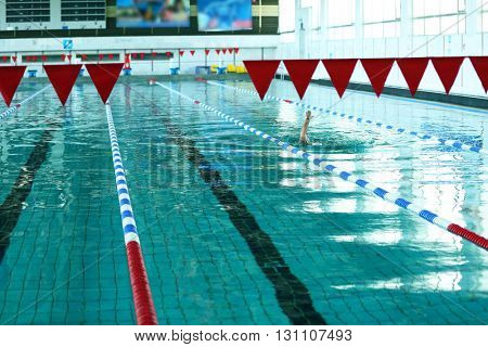 Swimming pool in the sport centre, indoors