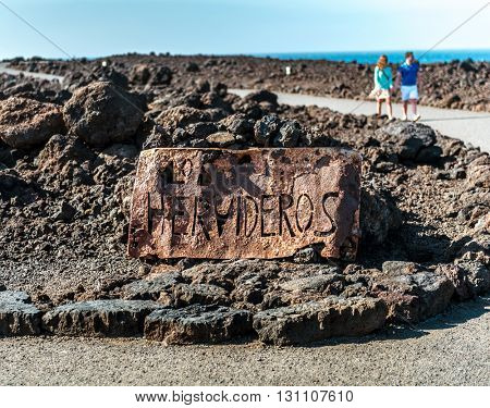 signboard of Cueva de los Verdes in Lanzarote, Canary Islands, Spain