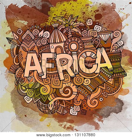 Africa ethnic hand lettering and doodles elements and symbols background. Vector hand drawn watercolor illustration