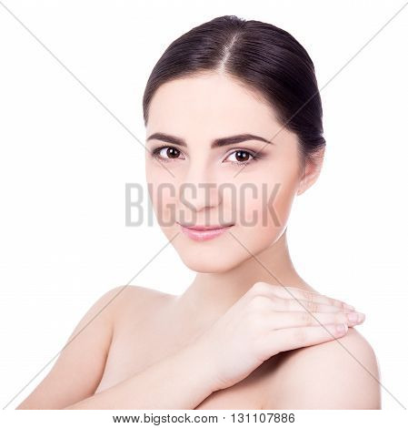 Close Up Portrait Of Beautiful Woman With Perfect Skin Isolated On White