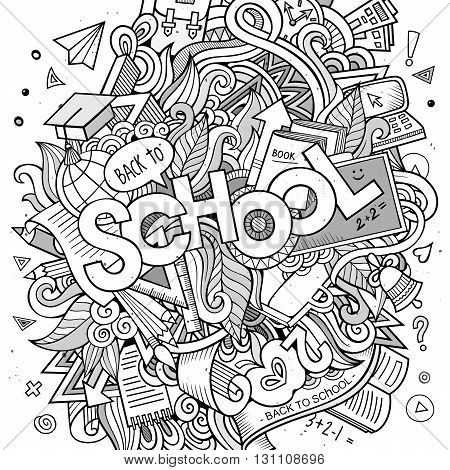 Cartoon sketchy hand-drawn Doodle on the subject of education. Design background with school hand lettering, objects and symbols. Vector illustration.