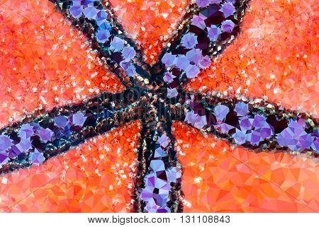 Abstract orange polygonal geometric triangle starfish background