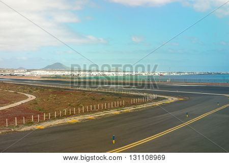 airport runaway with view on the city, Canary Islands, Spain