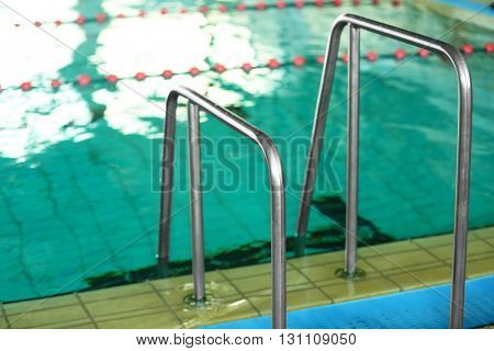 View of stairs in the swimming pool, close-up