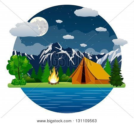Summer landscape tent and bonfire in mountains near lake. Solitude in nature by the river. Weekend in the tent. Hiking and camping. vector illustration in flat design. night camp.