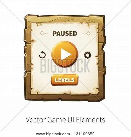 Game pause. Vector graphical user interface UI GUI for 2d video games. Wooden menu, panels and buttons for menu.