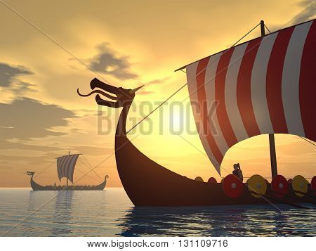 Computer generated 3D illustration with Viking ships