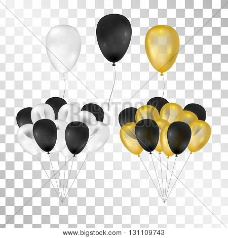 Balloons on transparent background. Vector set for greeting cards. Bunch of balloons isolated. Gold black white balloons. 3d design.