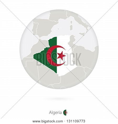 Map Of Algeria And National Flag In A Circle.