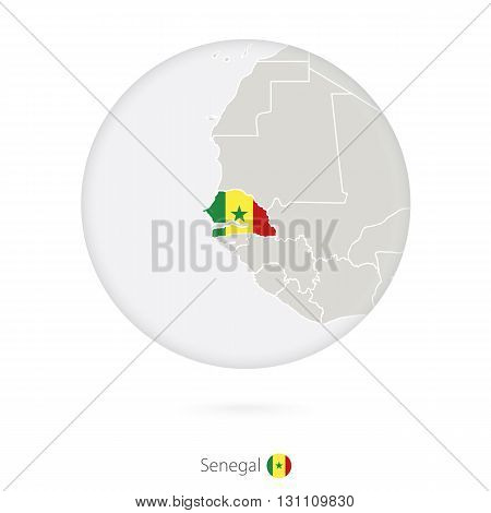 Map Of Senegal And National Flag In A Circle.