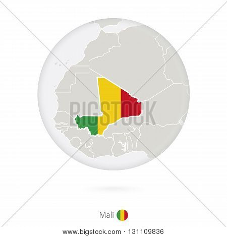 Map Of Mali And National Flag In A Circle.