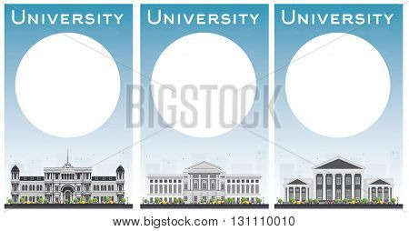 Set of university study banners with copy space. Students go to the gray building. University with blue sky and green tree. Banner with copy space. University buildings. University concept.