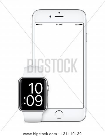 Varna Bulgaria - October 24 2015: Front view of Silver Apple iPhone 6s with white screen and Silver Apple Watch Sport mockup. Isolated on white.