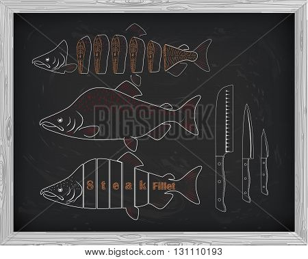 Beautiful Fresh Salmon And Knives Closeup Side View Drawn With Chalk. Pink Salmon Cutting Scheme Bla