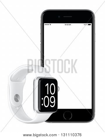 Varna Bulgaria - October 24 2015: Front view of Space Gray Apple iPhone 6s with white screen and Silver Apple Watch Sport mockup. Isolated on white.