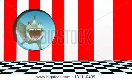 Computer generated 3D illustration with a great white shark behind a porthole