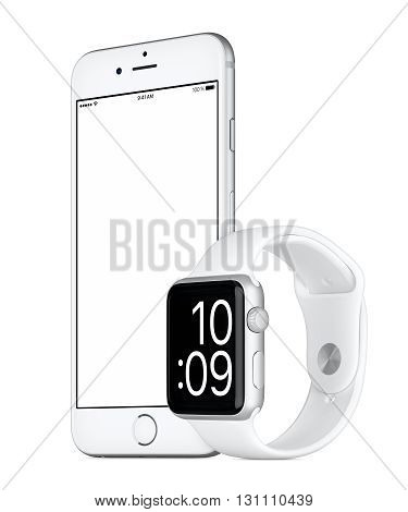 Varna Bulgaria - October 24 2015: Slightly rotated Silver Apple iPhone 6s with white screen and Silver Apple Watch Sport mockup. Isolated on white.