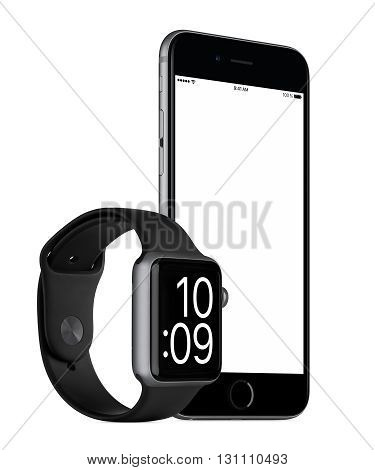 Varna Bulgaria - October 24 2015: Slightly rotated Space Gray Apple iPhone 6s with white screen and Space Gray Apple Watch Sport mockup. Isolated on white.
