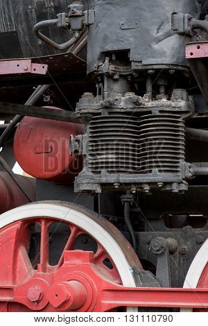 Detail from an old steam locomotive in natural light