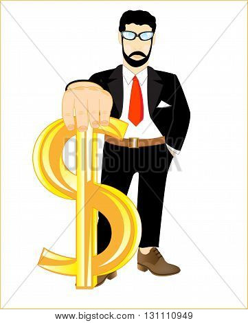 Man in suit with sign dollar in hand on white background