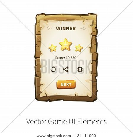 Win. Level completed. Vector graphical user interface UI GUI for 2d video games. Wooden menu, panels and buttons for menu.