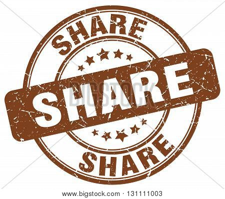 Share Brown Grunge Round Vintage Rubber Stamp.share Stamp.share Round Stamp.share Grunge Stamp.share