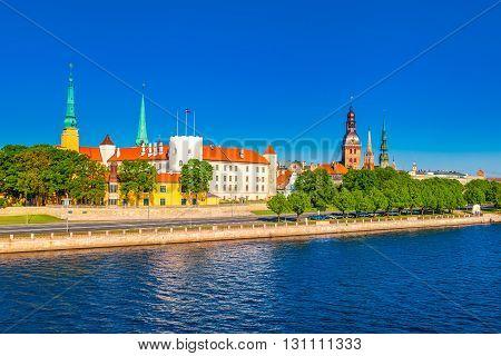 Old Town Of Riga And In Daugava River, Riga Castle, Riga Cathedral, Saint Peters Church. Riga, Latvi