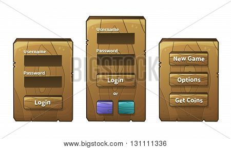 Vector set of graphical user interface UI GUI for 2d video games. Wooden menu, panels and buttons for menu. Social networks login option