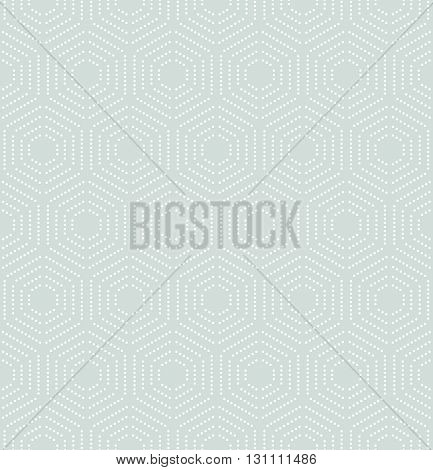 Geometric repeating vector ornament with hexagonal dotted white elements. Seamless abstract modern pattern