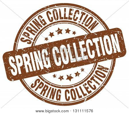 Spring Collection Brown Grunge Round Vintage Rubber Stamp.spring Collection Stamp.spring Collection