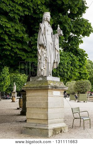 Paris, France - May 14: This is Statue of Queen Bertha in Luxembourgh Garden May 14, 2013 in Paris, France.