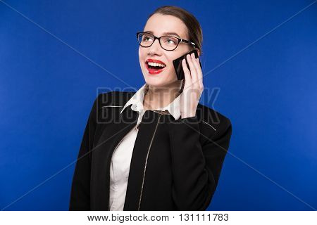 Woman With Red Lipstick In Her Hand Phone