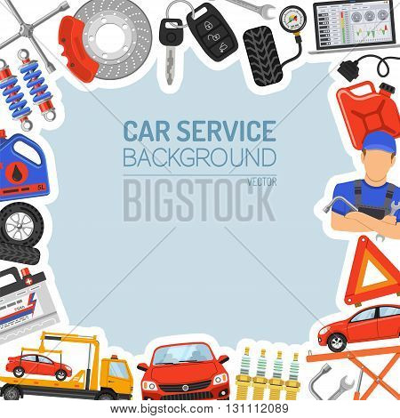 Car Service Frame with Flat Icons for Poster, Web Site, Advertising like Laptop, Tow Truck, Battery, Jack, Mechanic.