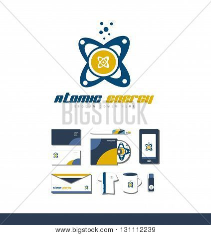 Vector company logo icon element template atom symbol orbit energy atomic chemistry nuclear science