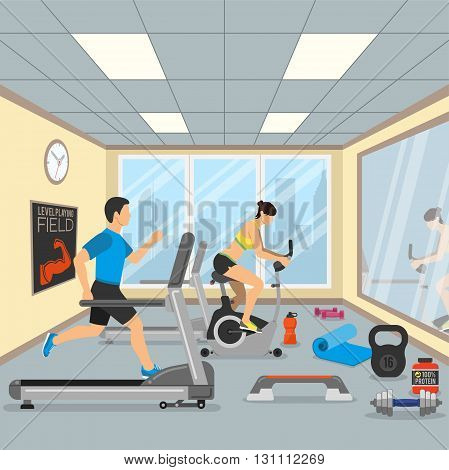 Fitness and Gym Concept for Web Site, Advertising like Treadmill, Exercise Bike and Dambbells Icons.