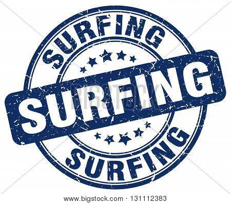 Surfing Blue Grunge Round Vintage Rubber Stamp.surfing Stamp.surfing Round Stamp.surfing Grunge Stam