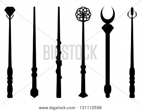 Magic Wands. Magic And Magical Objects. Chery Silhouette On A White Background. Wizard Tool. Vector