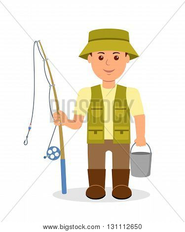 Male with a bucket and a fishing rod fishing. The isolated character of a fisherman in uniform. Vector Illustration.