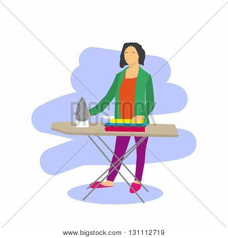 Vector flat illustration of woman ironing clothes. Isolated on white. Housewife with iron