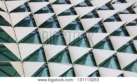 Abstract close-up view of modern aluminum facade