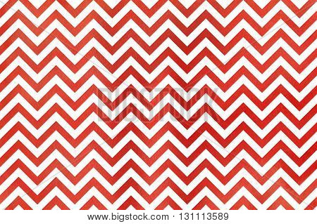 Watercolor red stripes background chevron. Abstract watercolor background with red stripes on white background. Red watercolor stripes.