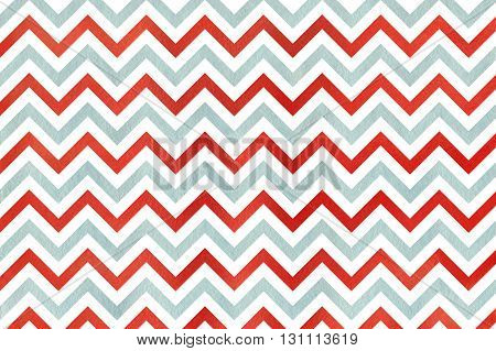 Watercolor red and blue stripes background chevron. Abstract watercolor background with red and blue stripes on white background.