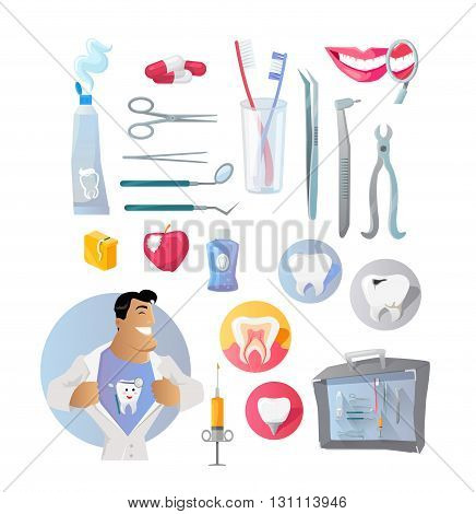 Tools and items on the theme of stomatology. Medical dentist with tool set for dental medicine design flat. Care and hygiene dentistry for  tooth and equipment for stomatology. Vector illustration