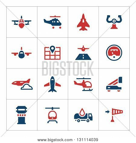 Set color icons of aviation isolated on white. Vector illustration