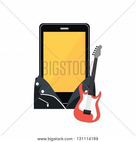 Phone in a black leather jacket. Music rocker with electric guitar instrument isolated on a white background in a flat style. Suit musician guitar player for smartphones. Vector illustration