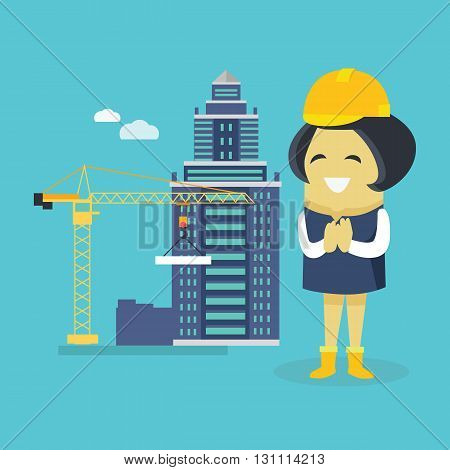 Female engineer and a building construction. Young successful happy architect woman superintendent in a helmet. Construction of a new house or sovremennog business ofice. Vector illustration