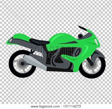 Cool motorcycle isolated. Vehicle on two wheels, biker chopper. Transport modern motorbike with power engine. Classic bike for riding in a flat style. Vector illustration