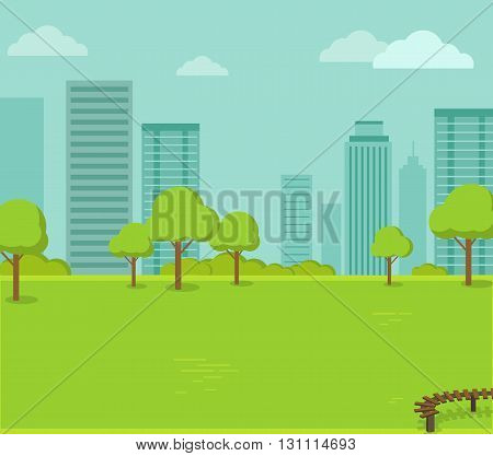 City park with a lawn and trees flat style. Green park with plant environmental and lush grass with a wooden bench on a background of town with business skyscrapers high buildings. Vector illustration
