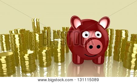 Red smiling piggybank with piles of golden coins around 3D illustration money saving concept